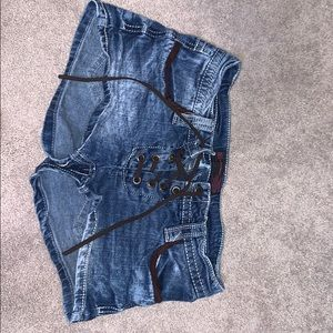 jean shorts with brown fabric!!